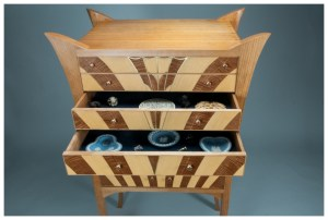Cherry Cabinet of Curiosities in an Art Deco Style   Brass inlay   Heller and Heller Furniture
