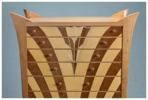 Cherry Cabinet of Curiosities in an Art Deco Style   Heller and Heller Furniture