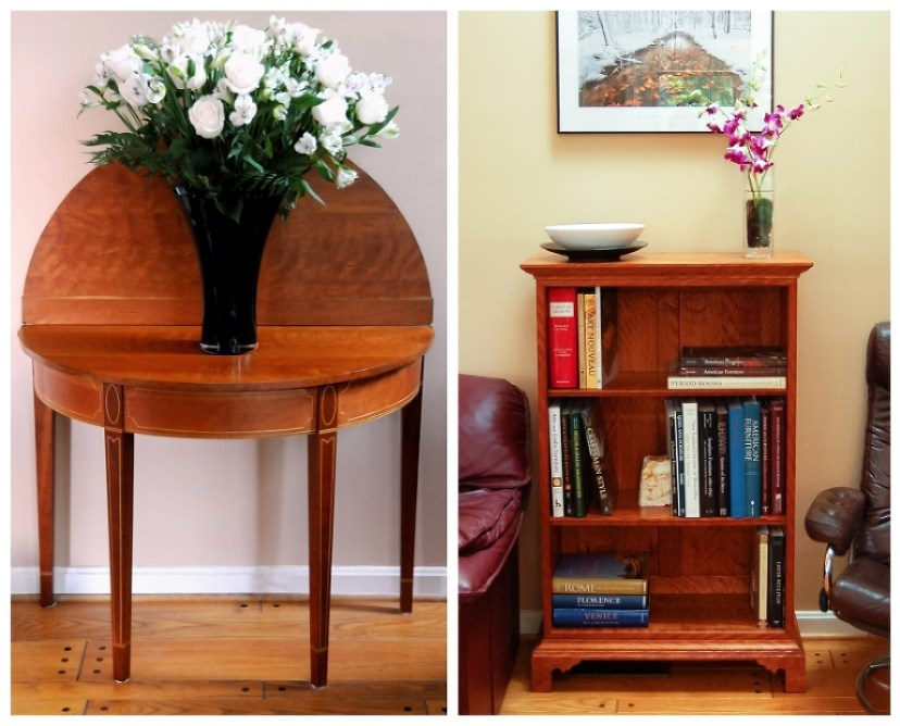 Cherry gate-leg table | Curly Cherry Federal Bookcase | See more at Heller and Heller Furniture