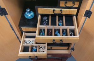 Cabinet with Enameled Bonsai Decoration