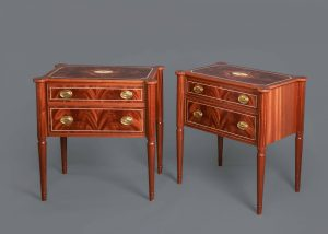 A Pair of Veneered Federal Style Bedside Tables in Flame Mahoghany by Heller & Heller Furniture