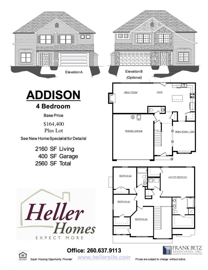 Addison Handout - Heller Homes Addison Floor Plan Handout