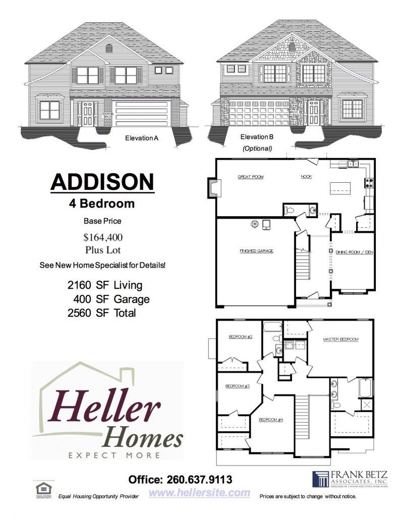 Addison Handout - Heller Homes Addison Floor Plan Handout