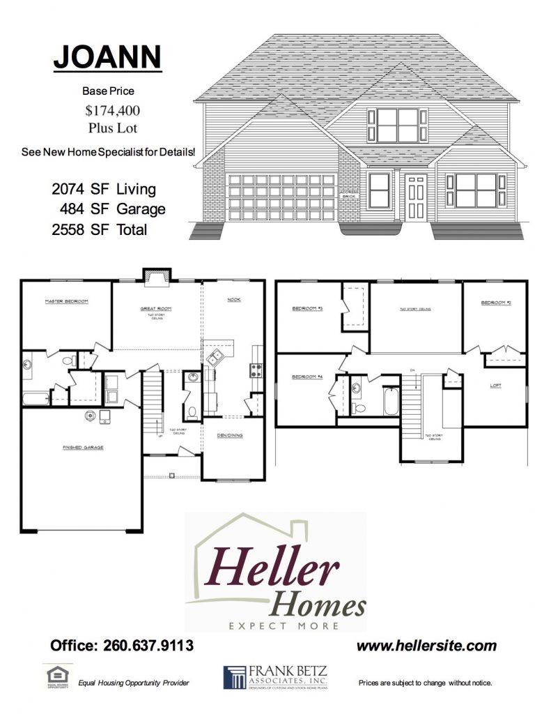 Joann Handout - Heller Homes Joann Floor Plan Handout