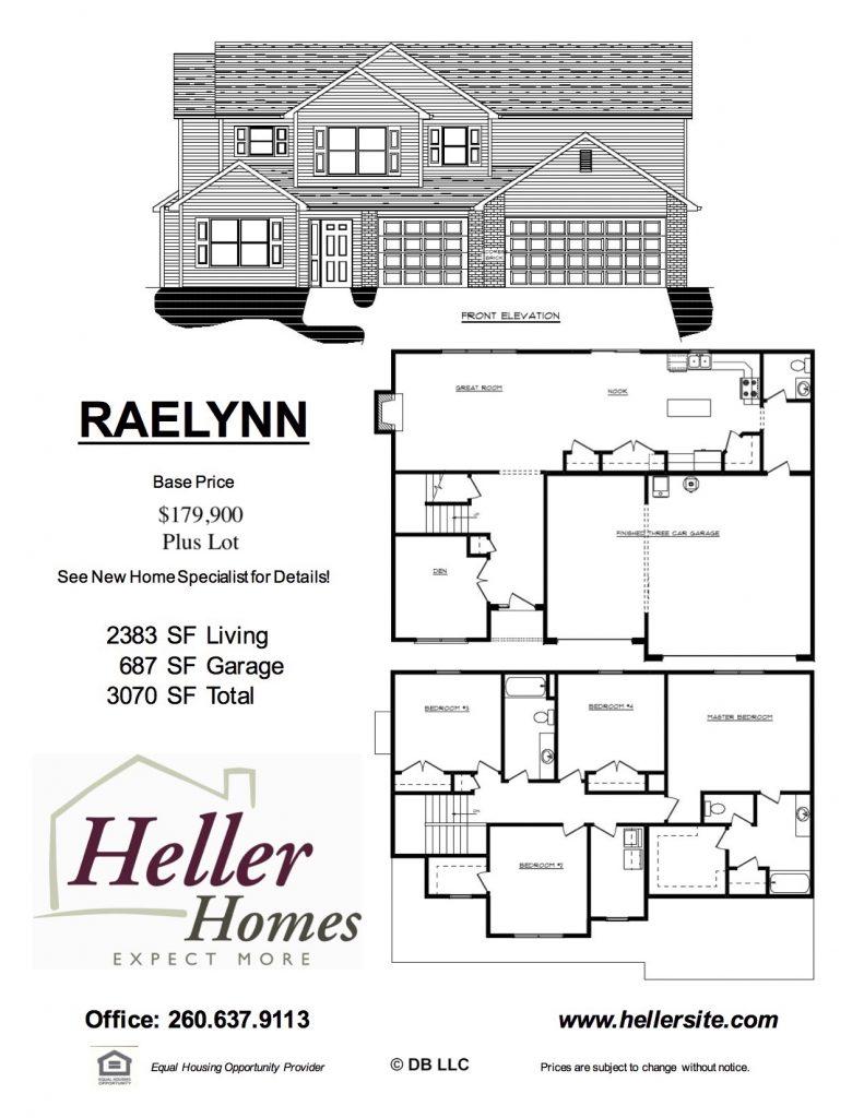 Raelynn Handout - Heller Homes Raelynn Floor Plan Handout