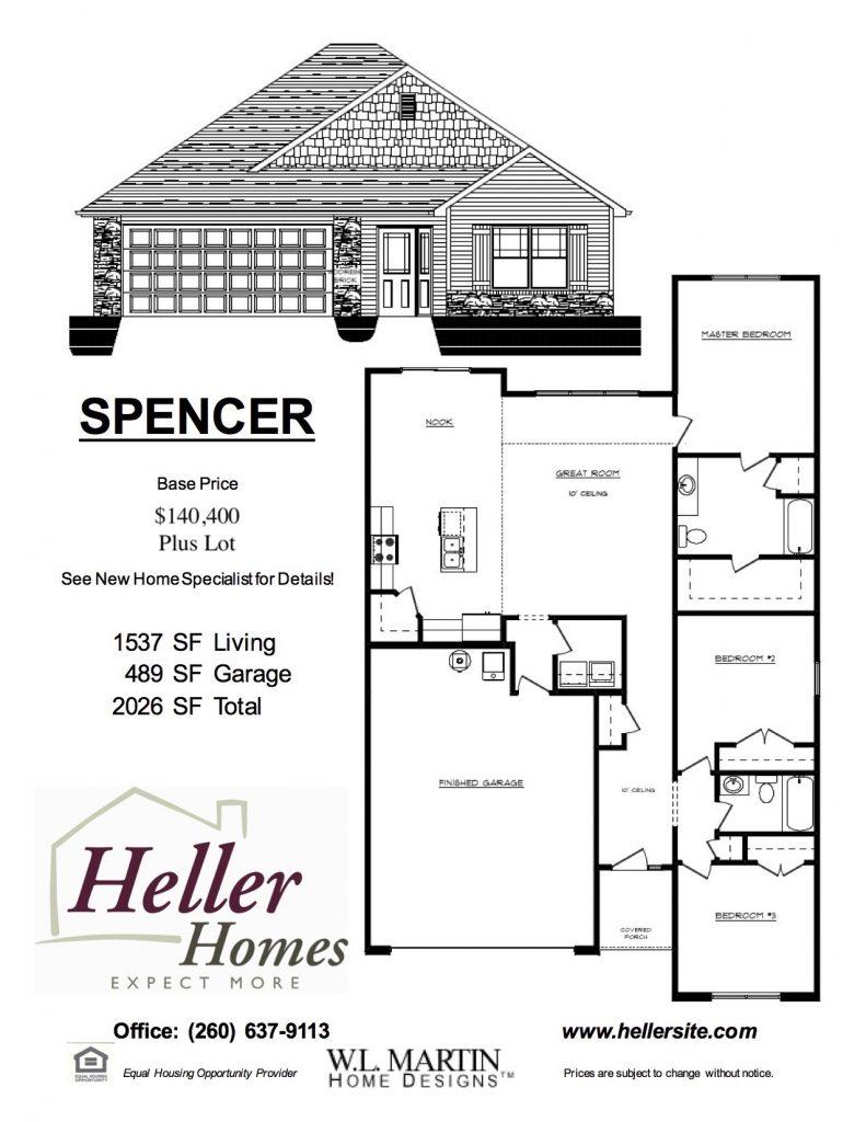 Spencer Handout - Heller Homes Spencer Floor Plan Handout