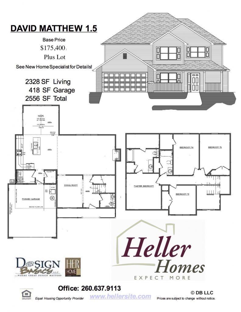 David Matthew 1.5 Handout - Heller Homes David Matthew 1.5 Floor Plan Handout