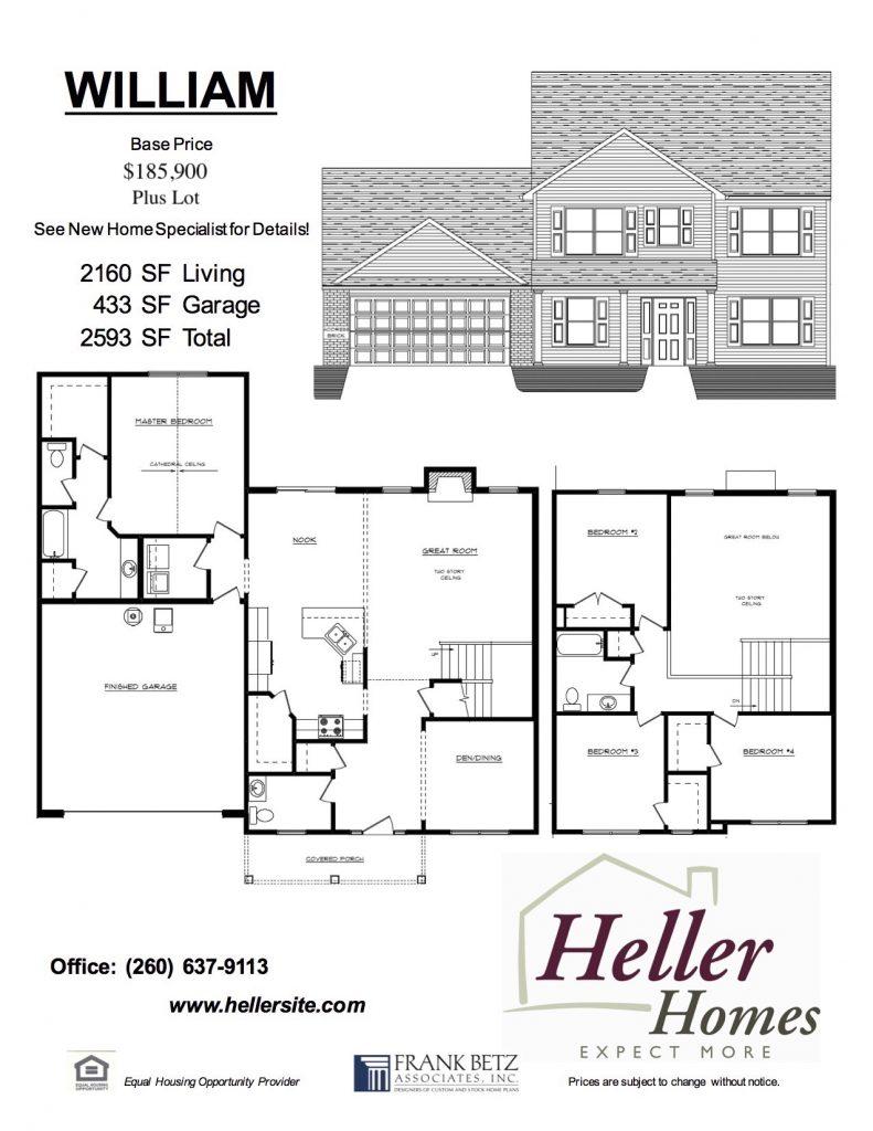 William Handout - Heller Homes William Floor Plan Handout