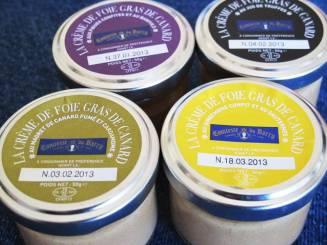 Foie gras-kremer med div. smaker.