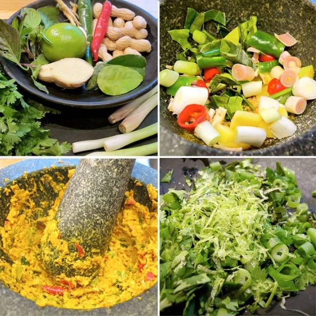 1. fra venstre: eksotiske ingredienser. 2. støting i morter 3. ferdig paste 4. urter til å pynte retten med .