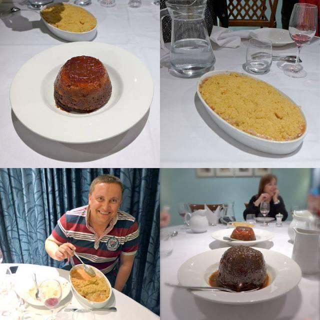 Bloggerne koser seg med pudding. Disse puddingen ble laget spesielt for oss og er 1/4 størrelse av de de serverer på pudding-kvelder.