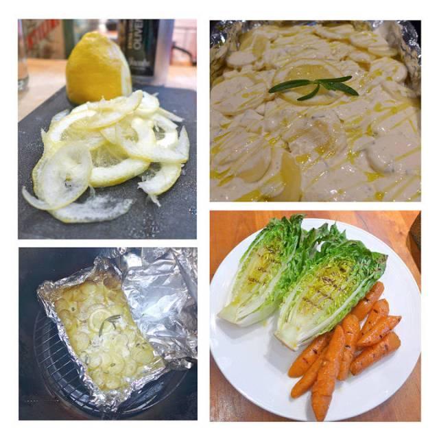 Tynne skiver sitron til potetformen. Potetform klar til grilling. Poteter ferdige fra grillen. Grillet salat og honningglaserte gulrøtter (fremgangsmåte nedenfor)