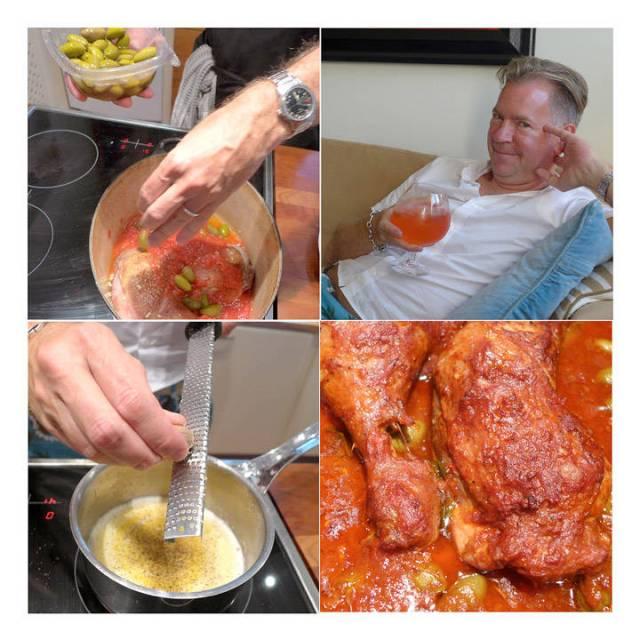 Oliven må til. Erik chiller med en bringebær-GT mens retten koser seg i ovene. Rett før servering lager han en deilig potetmos av kokte poteter, smeltet smør, fløte, salt, pepper og muskattnøtt. Perfekt til retten.