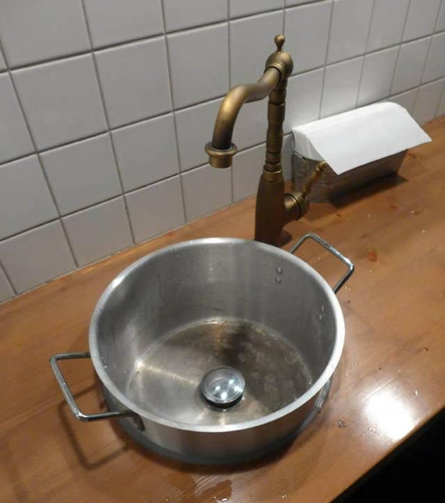 Gryter brukes som vask