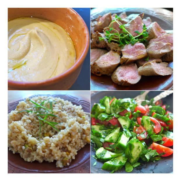 Arabiskinspirert lam med hummus, bulgur og en frisk salat. https://helleskitchen.org/2014/09/25/lam-med-hummus-bulgur-og-frisk-salat/