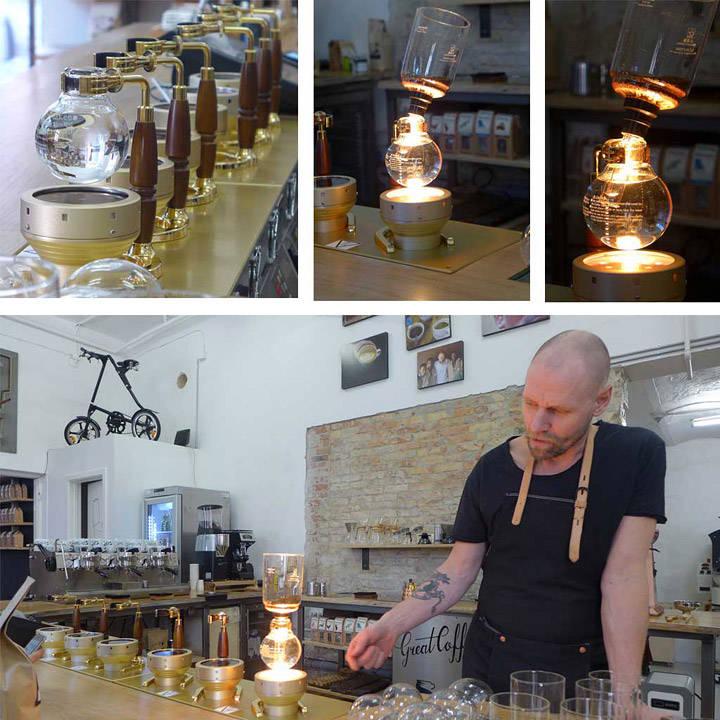 Siphon-brygget kaffe. Og hvilken kaffe!