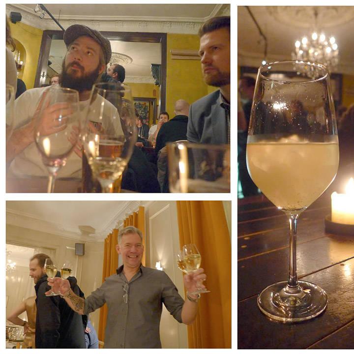 Even Ramsvik og uberblogger Anders Husa, granskuddpunsj og en superhappy Erik med cava i begge hender.