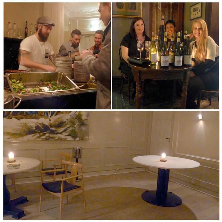 Det serveres natmat. «Skarre værra no' mer før vi stenger?», damer og vin, bordet «vårt». Begge gangene vi har vært på Ylajali har vi spist på dette bordet.
