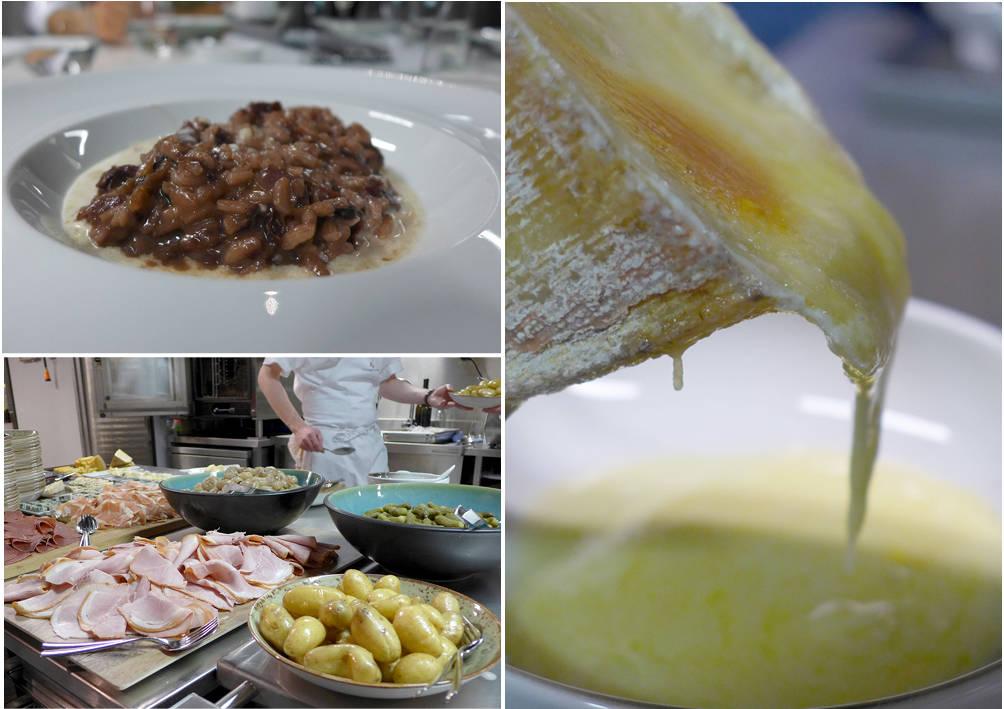 Risotto med osteskum, ekte raclette med skinke, sylteagurker, potet og løk.