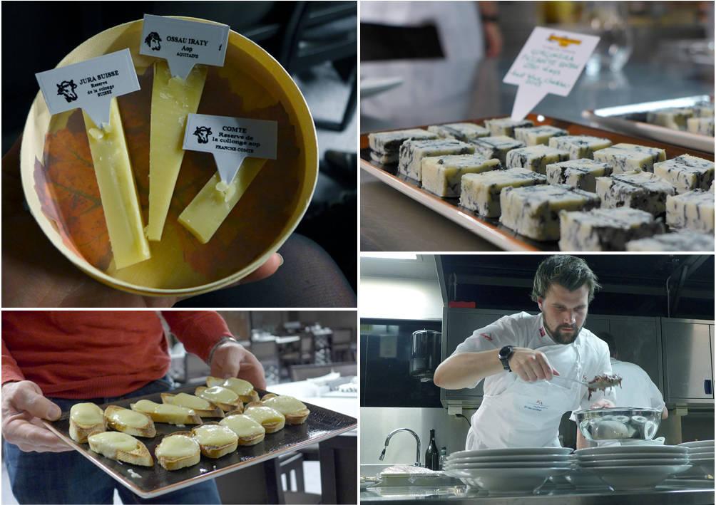 Fra ostekvelden: Oster fra Oste-selskapet Mons i Frankrike. De kjøper opp oster og lagrer dem i en tunnel helt til de er perfekte for salg. Raclette og sveitsiske oster. Kokk ved Kulinarisk Institutt på Mathallen lager mat til oss.