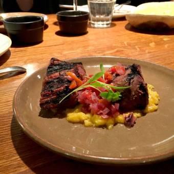 Bistec Escabechado: marinated grilled fillet steak, red onion, amarillo chilli, choclo corn purée