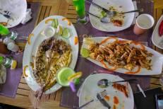 perfekt tilberedt fisk og skalldyr