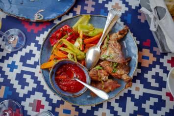 Grillet svinekjøtt med grillede grønnsaker