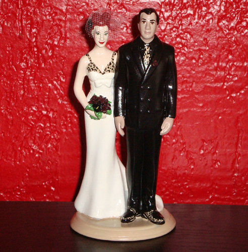 Custom Tattooed Wedding Cake Topper With Leopard Details