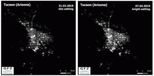 Comparaison de la pollution lumineuse prise au-dessus de Tucson