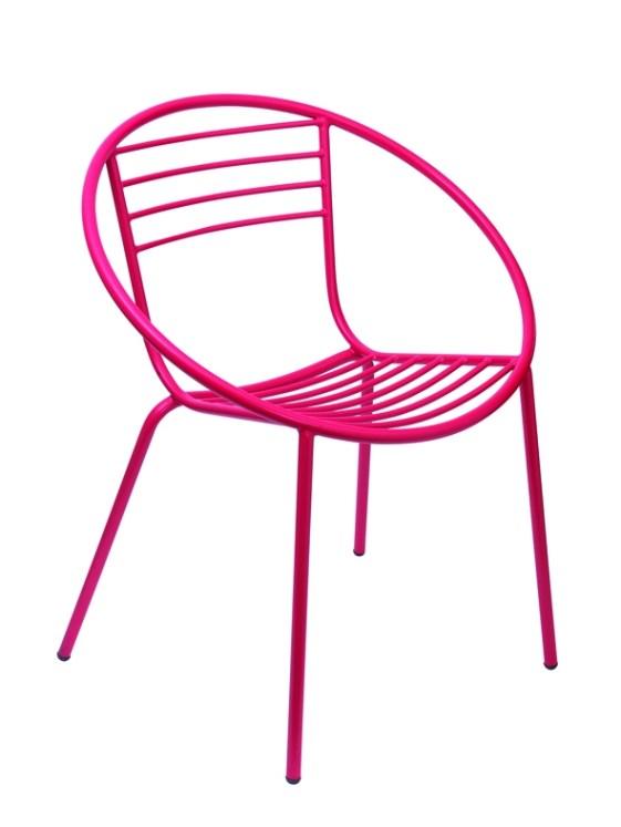 Chaise de jardin rose fluo