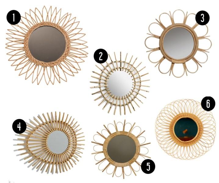 Miroirs en Rotin // Hëllø Blogzine www.hello-hello.fr