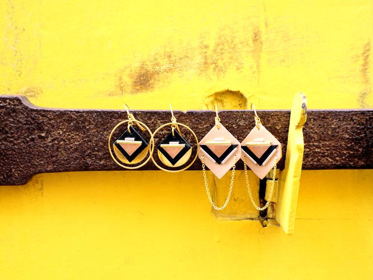 Bijoux géométriques en cuir made in France