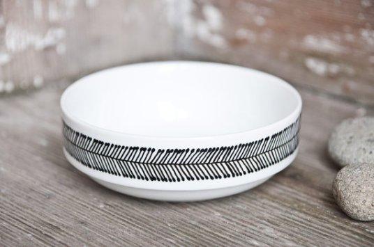 vaisselle noir et blanc faite main