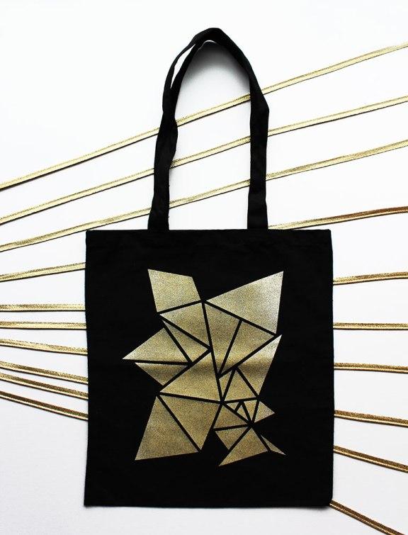 Tote bag noir et or