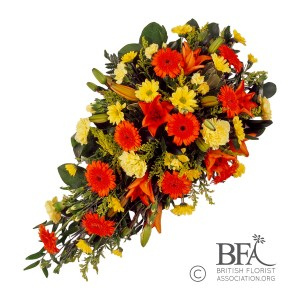 Orange & Gold funeral spray