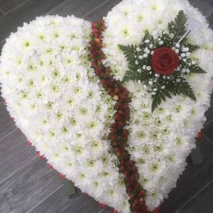 Broken Heart Wreath Funeral Flowers