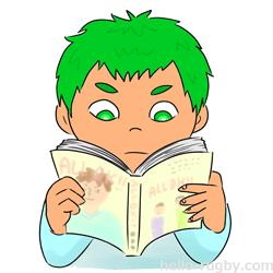 h250-見る マンガを読む(背景なし) ミニラグビー