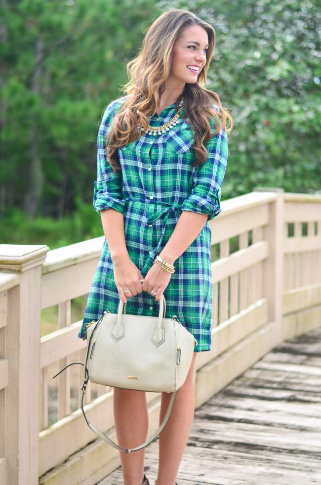 Flannel Shirt Dress-5