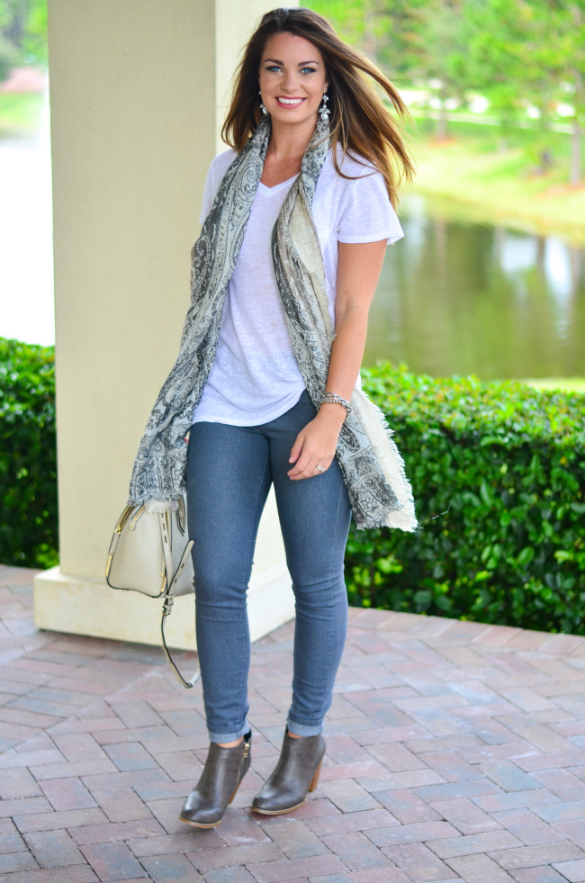 White Tee and Scarf-3