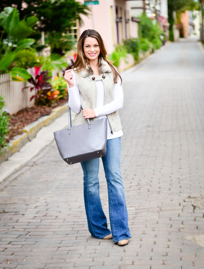 Furry Vest and Flare Jeans-4