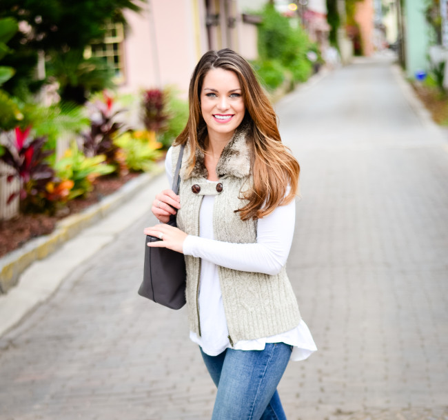 Furry Vest and Flare Jeans-5