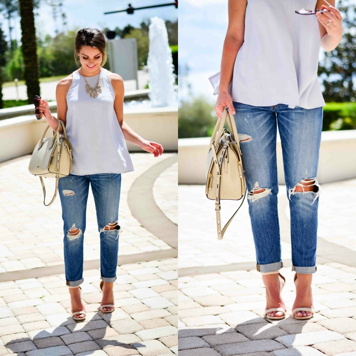 boyfriend jeans and spring heels collage