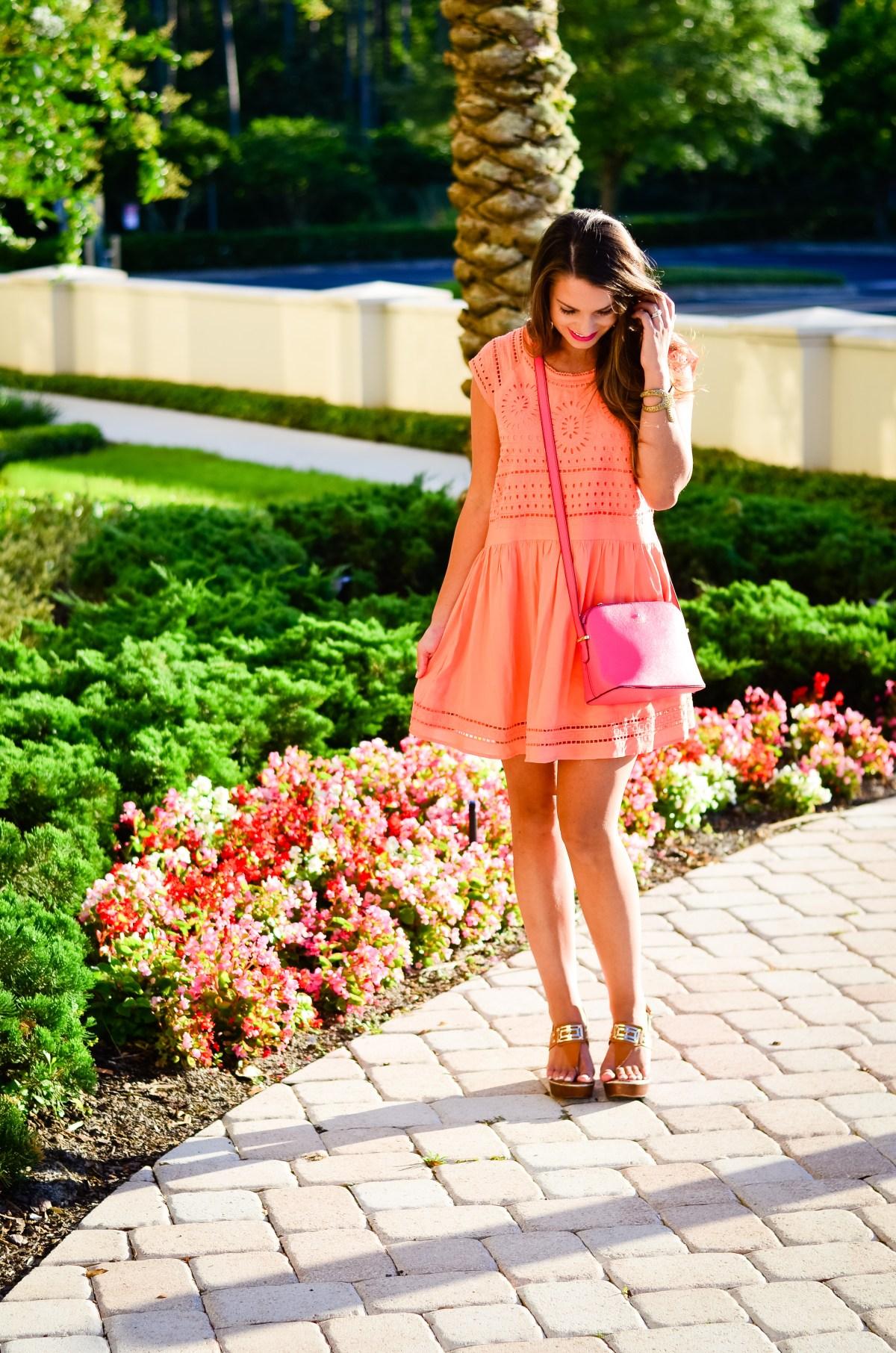 coral crochet dress-11