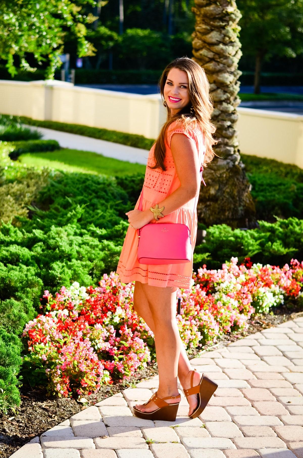 coral crochet dress-15