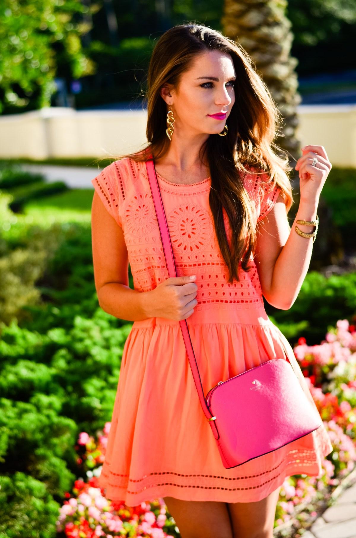 coral crochet dress-21