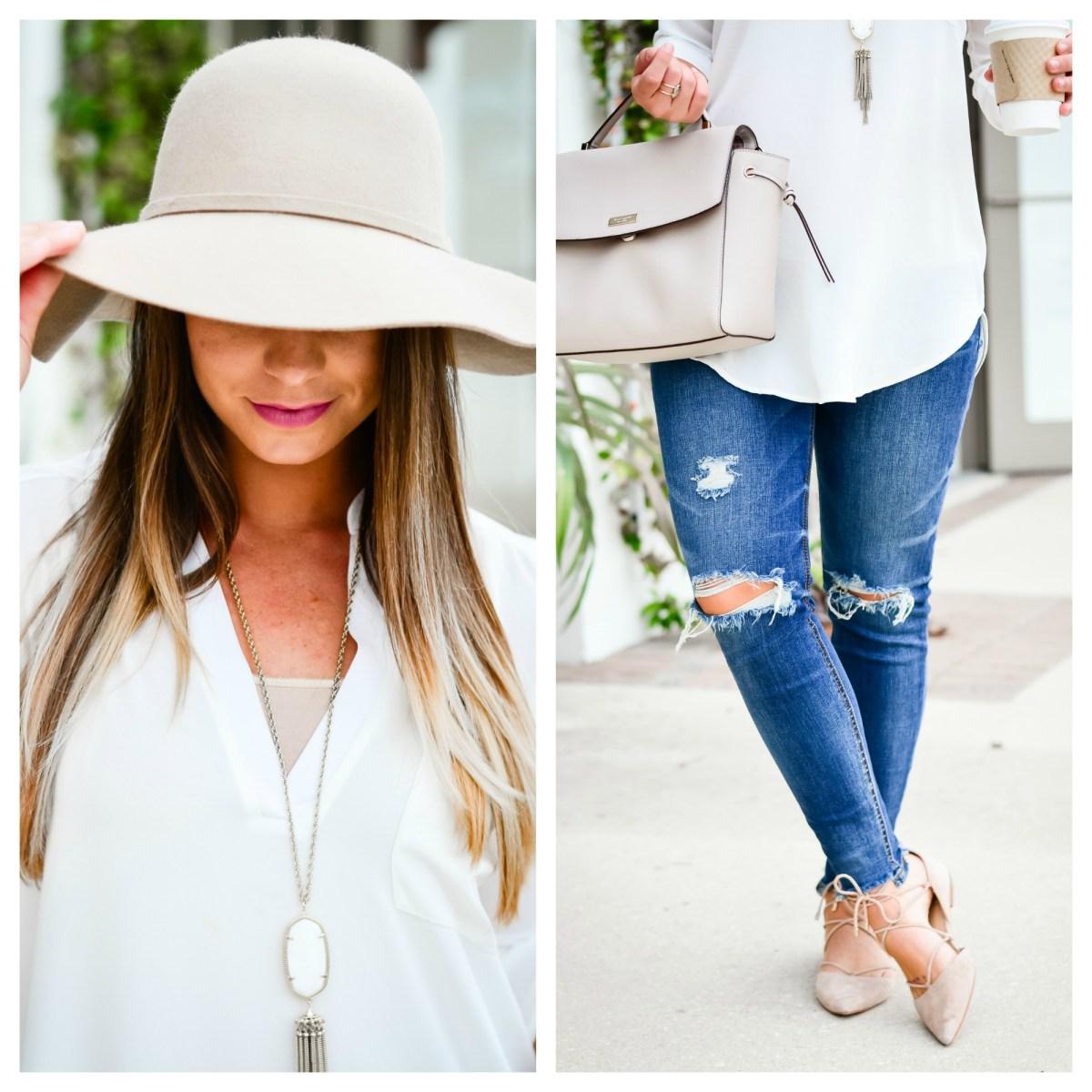 white-tunic-distressed-denim-floppy-hat