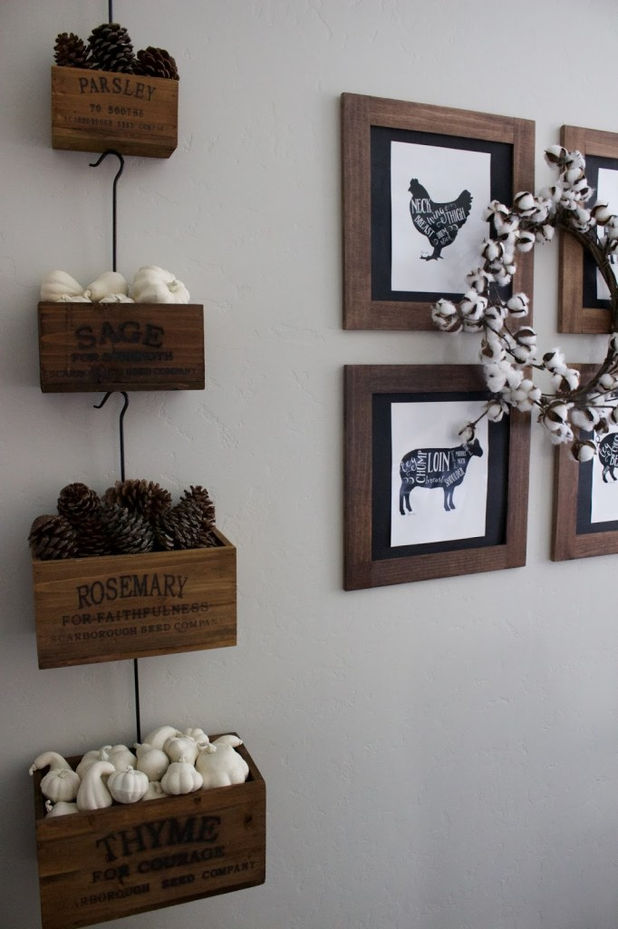 Simple Fall Decor - white pumpkins & pinecones!