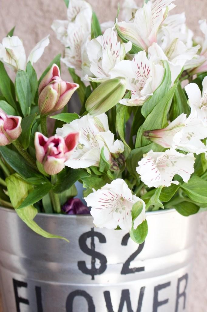 flower bucket close up