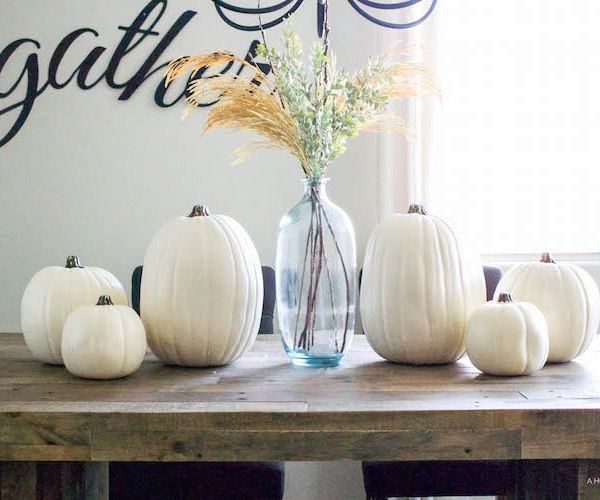 Simple Fall Tablescape - white pumpkins & wheat stems | helloallisonblog.com
