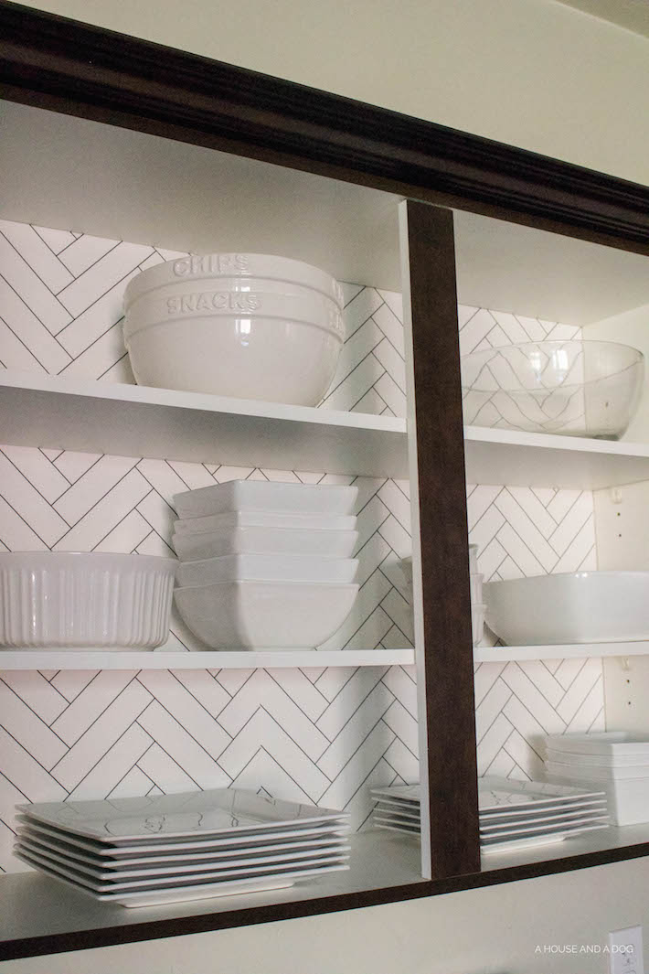 Kitchen Cabinet Wallpaper & Upgrading Builder Cabinets | helloallisonblog.com